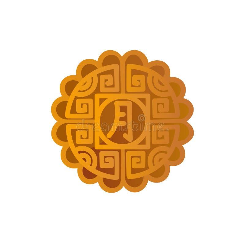 Mooncakeikonendesign Chinesisches Mittherbstfestsymbol mit einem chinesisches Schriftzeichen ` Mond ` vektor abbildung