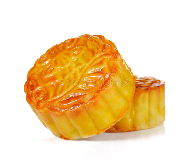 Mooncakes for Chinese Moon Festival on white background. stock photo