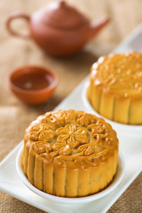 Mooncakes com teaset imagem de stock