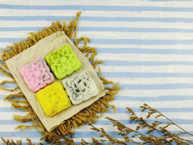 Mooncakes snow lotus cake traditional chinese royalty free stock images