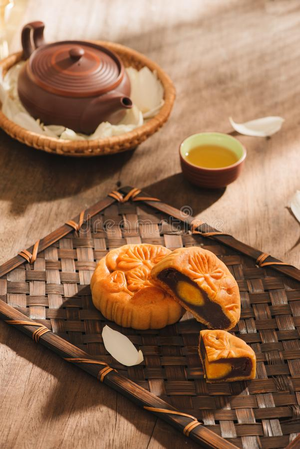 Mooncakes,which are Vietnamese pastries traditionally eaten during the Mid-Autumn Festival. Text on cake mean happiness. royalty free stock photo