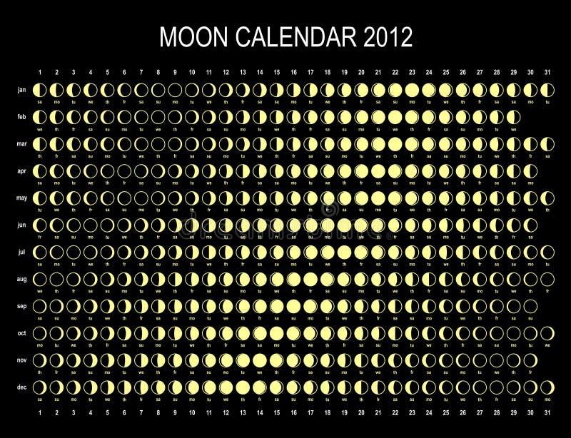 Moonkalender 2012 royaltyfri illustrationer