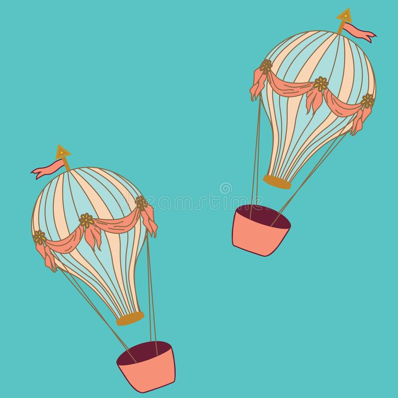 Hot air balloons on aqua background stock image