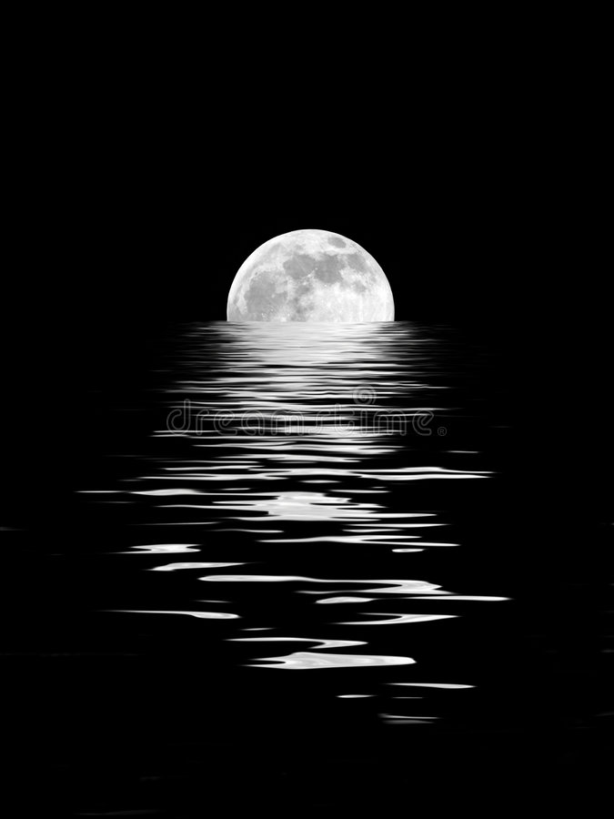 Moonlight Beauty. Abstract of a full moon on the Spring Equinox reflected over water and set against a black background vector illustration