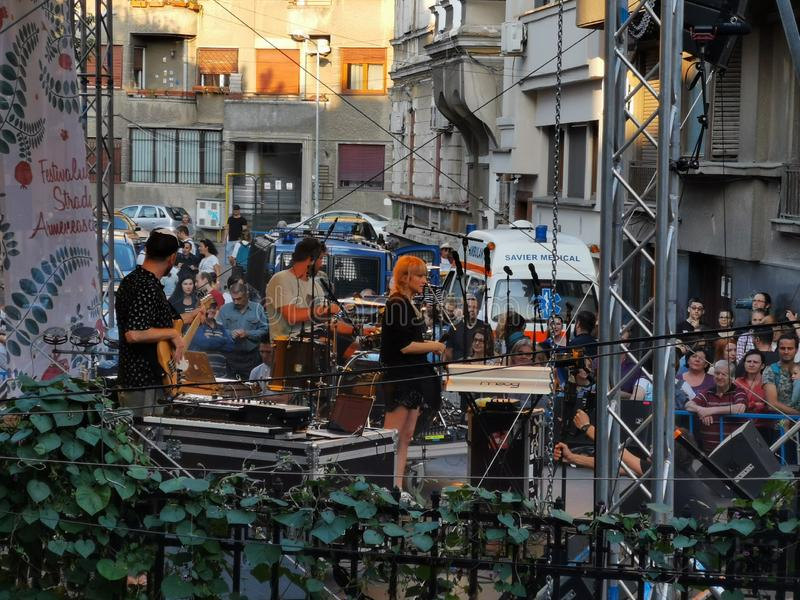 Moonlight Breakfast band at Armenian street festival 2019 in Bucharest stock images