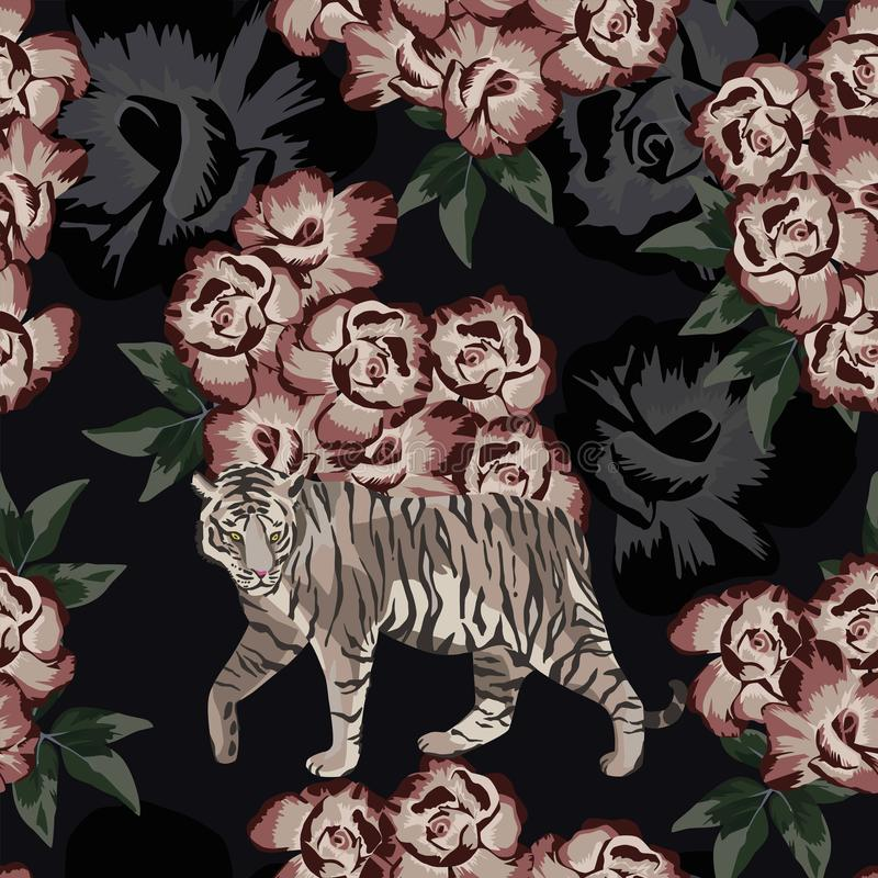 Moonlight chinese tiger on the rose background vector illustration