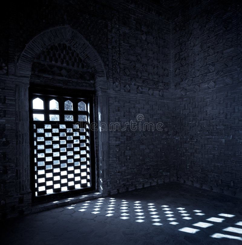 Moonlight coming through the window of mausoleum o stock photography