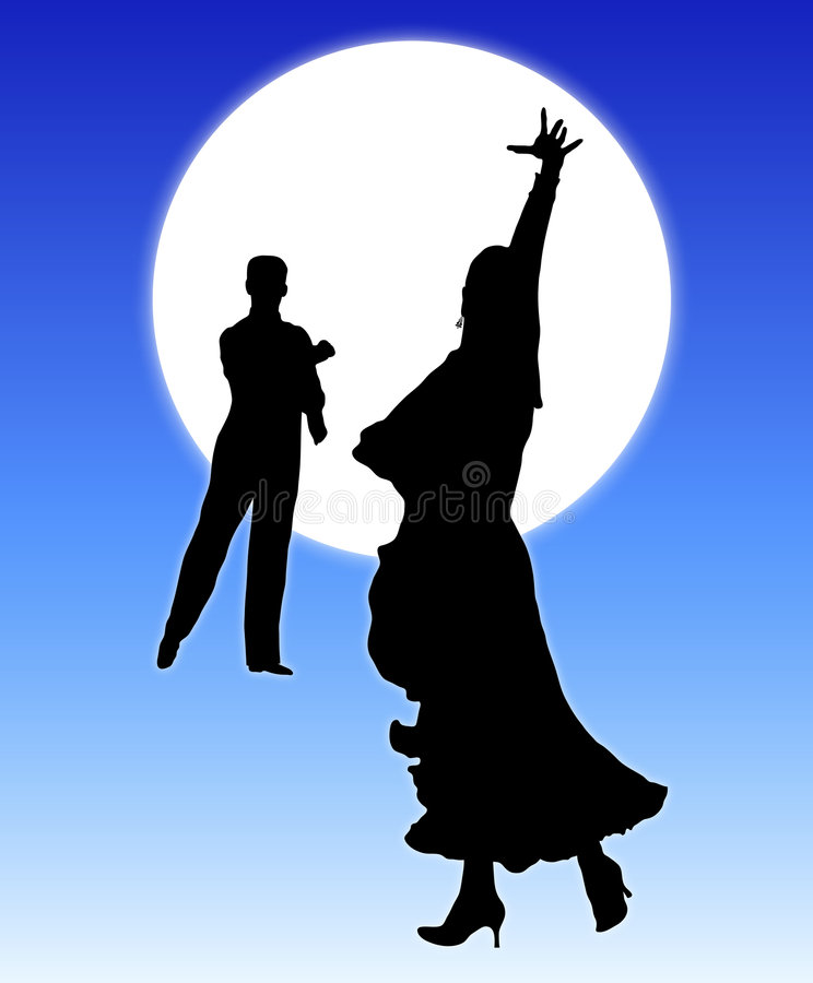Moonlight Dance 2. Silhouette illustration of young couple ballroom dancing royalty free illustration