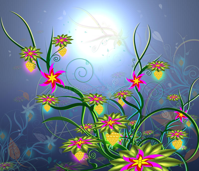 Download Moonlight Flowers-2 stock illustration. Illustration of freeing - 16988227