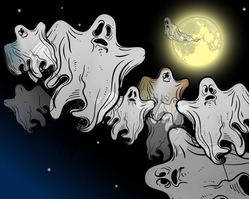 Download Moonlight Flying Ghosts Stock Image - Image: 18980141