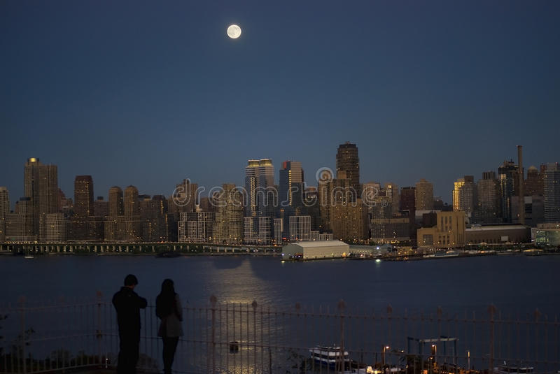 Download Moonlight on the Hudson stock image. Image of york, couple - 16634231