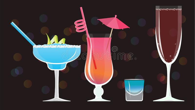 Moonlight Margarita, Mai Tai ,Blue Kamikaze , Rose wine glass cocktails. On black mirrored background with bokeh. Vector illustration for web and print, party vector illustration