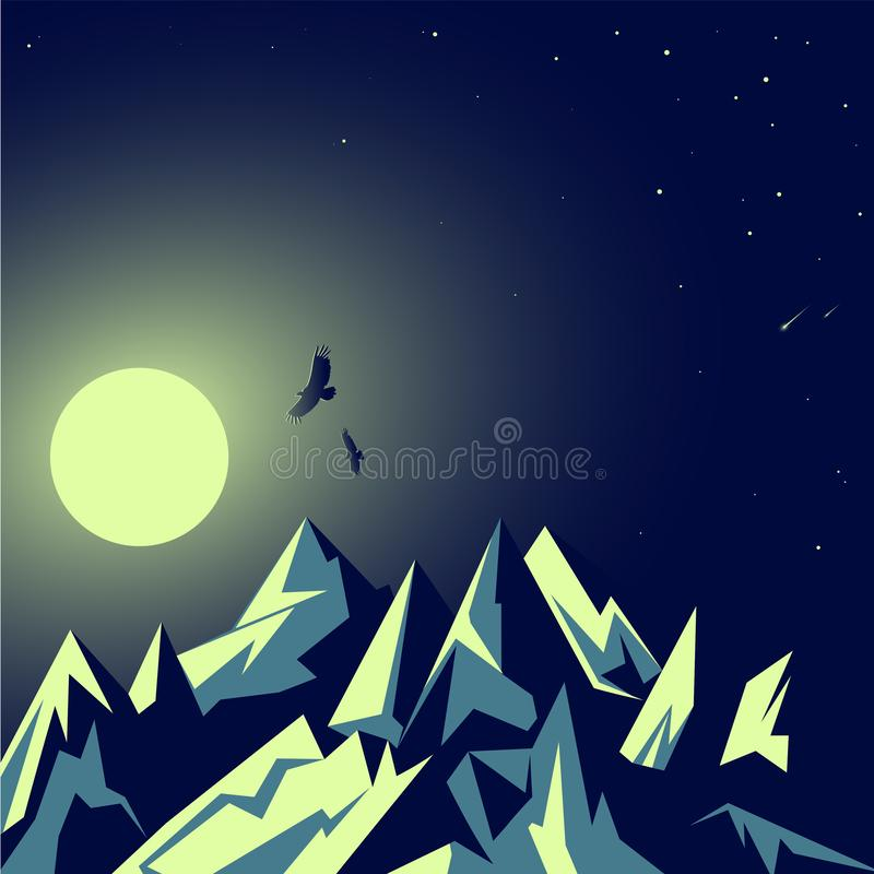 Moonlight, the moon. Rocky emerald mountains. Night landscape. Flickering stars. Eagles in flight. Tourism and wild nature. Vector royalty free illustration