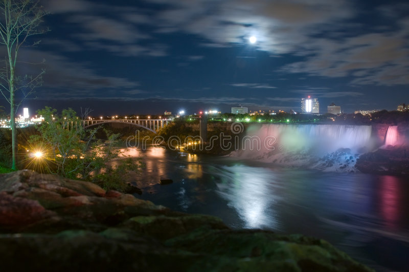 Download Moonlight on Niagara river stock photo. Image of national - 7823036