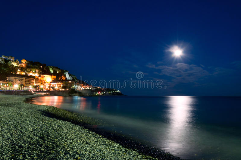 Moonlight in the Nice, Cote d 'Azur, France stock images