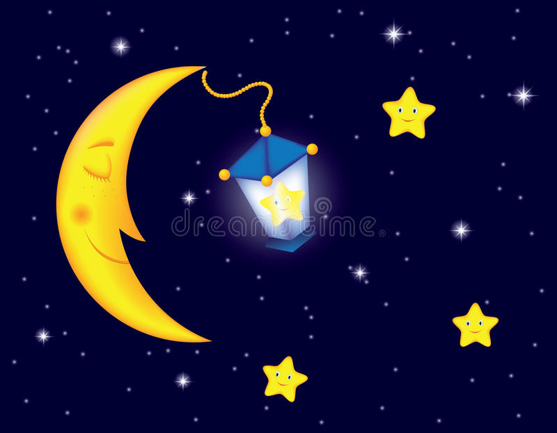 Download Moonlight night stock vector. Image of lantern, baby - 23939078