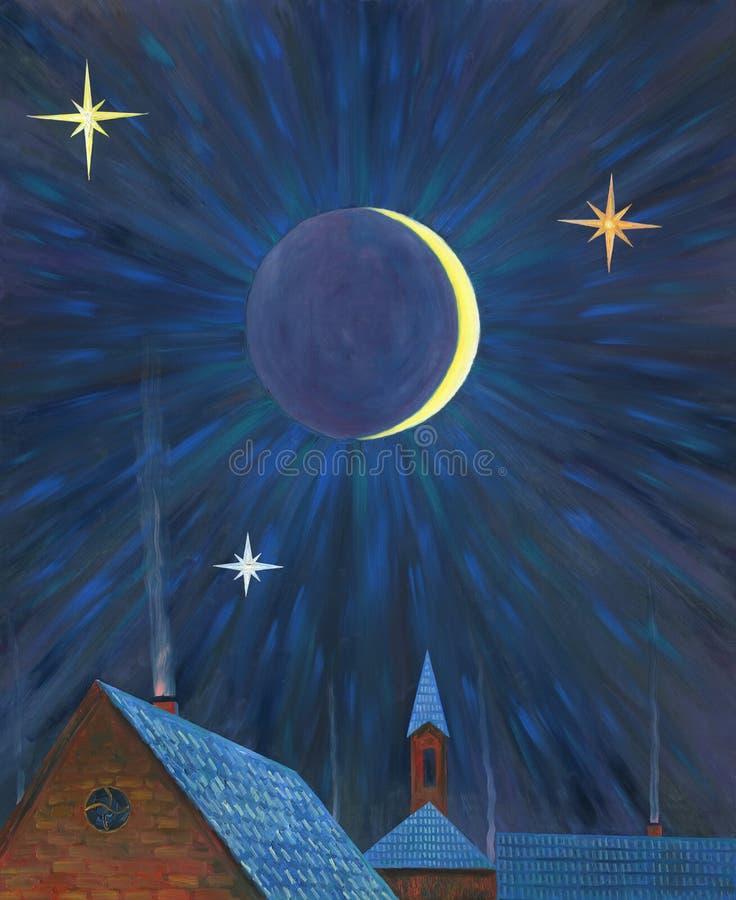 Moonlight night over the village. Oil painting. stock illustration