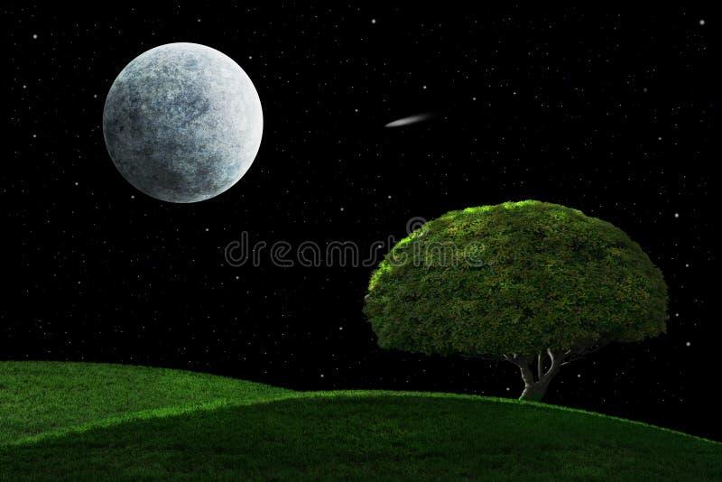 Moonlight Night With Solitary Tree stock photo