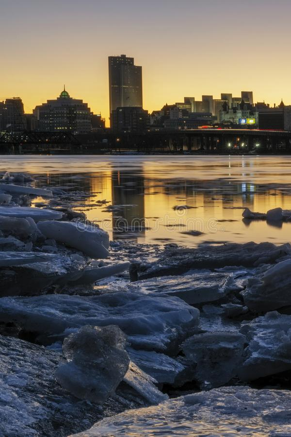 Glowing Light Over Albany Skyline royalty free stock photography