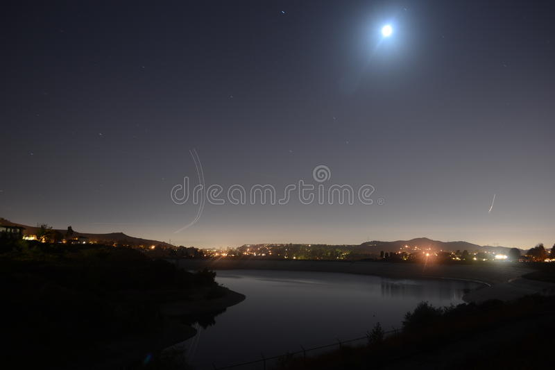 Moonlight over lake royalty free stock image