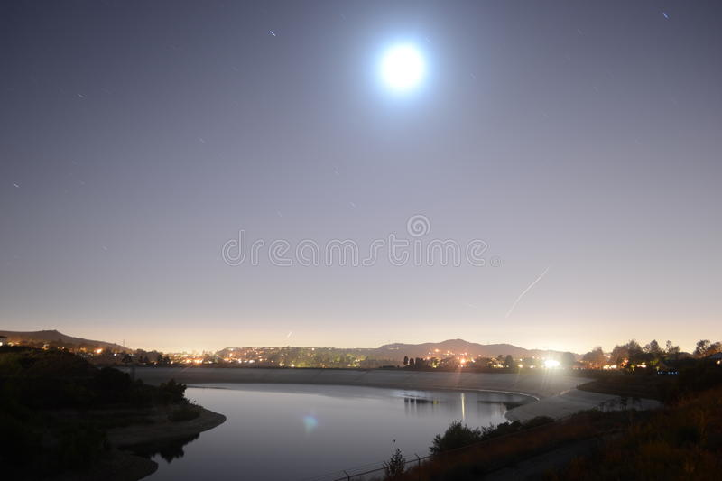Moonlight over lake royalty free stock photography