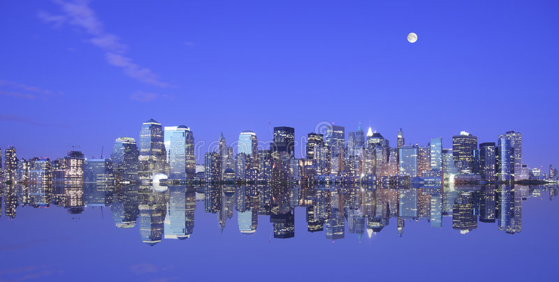 Download Moonlight over Manhattan stock photo. Image of famous - 5126676