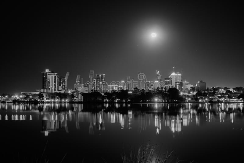 Moonlight over Perth royalty free stock photography