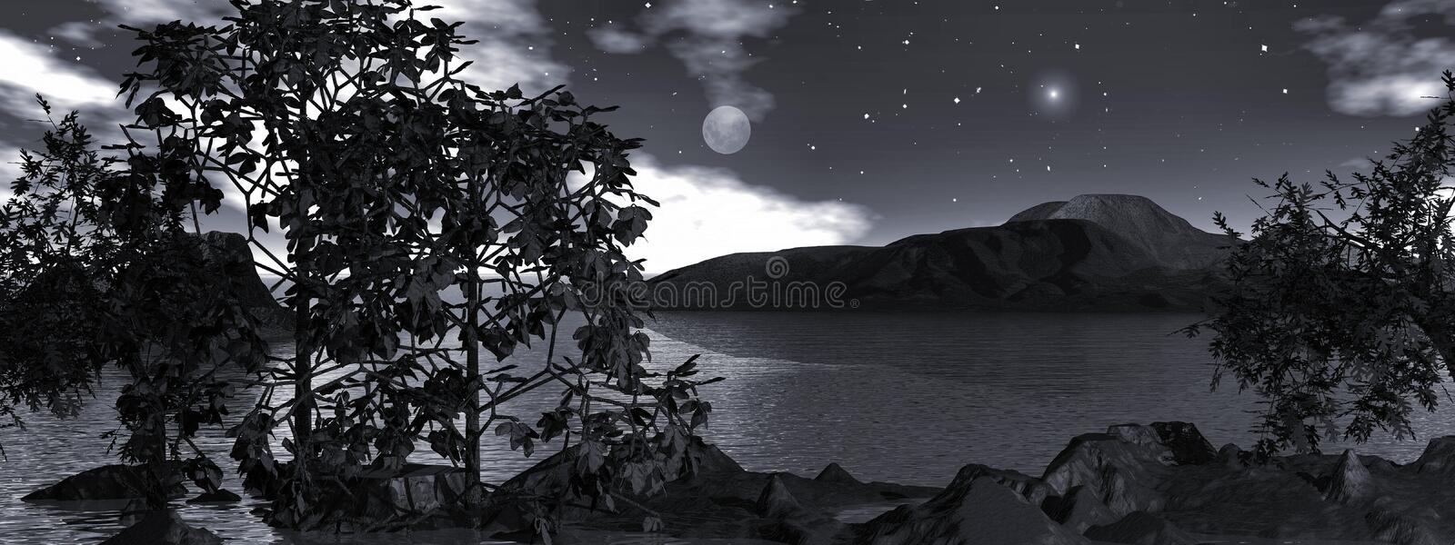 Download Moonlight Over The Water, Panoramic Royalty Free Stock Image - Image: 11843546