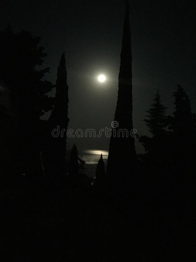 The moonlight and the sea stock photos