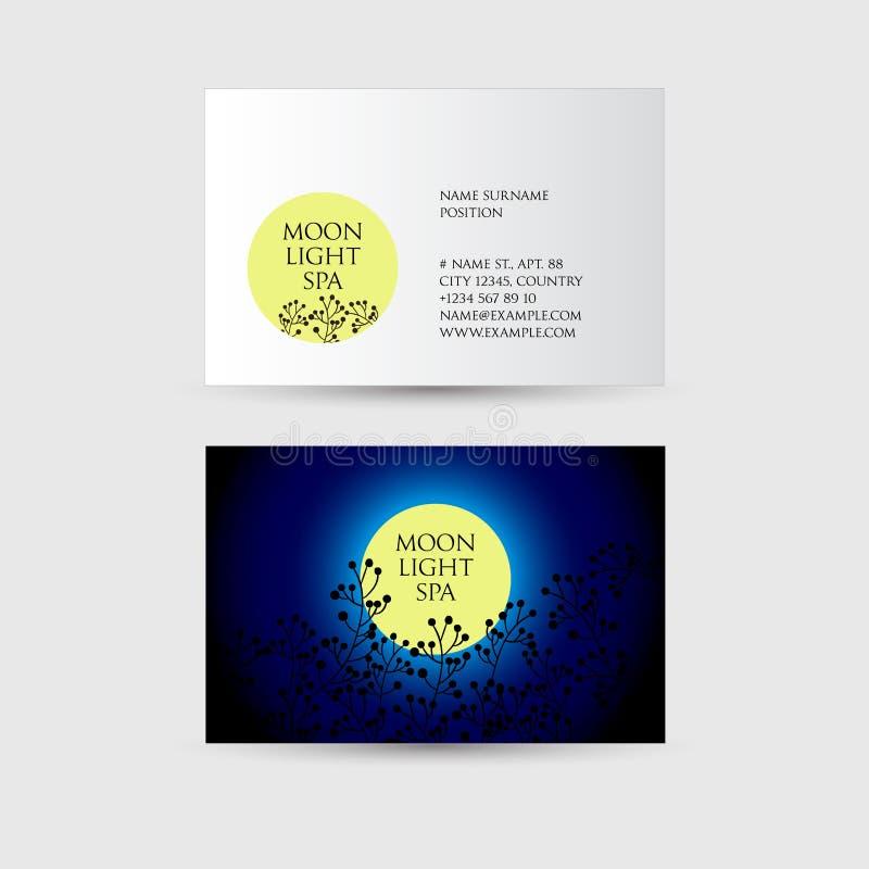 Moonlight spa embleem schoonheid Gevoelige silhouetten van bloemen op een achtergrond van de maan en de nachthemel vector illustratie
