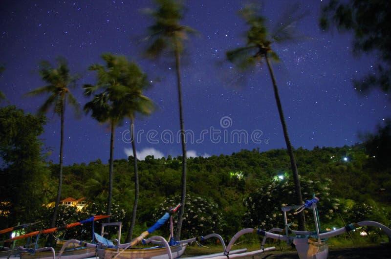 Moonlight stars beach Bali stock images
