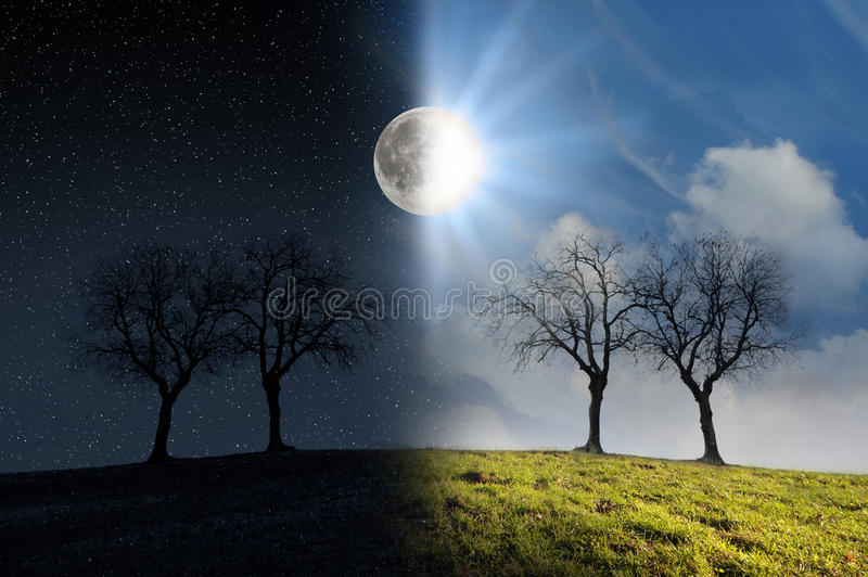 Moonlight and sunlight. Night and day scenery with moon and sun