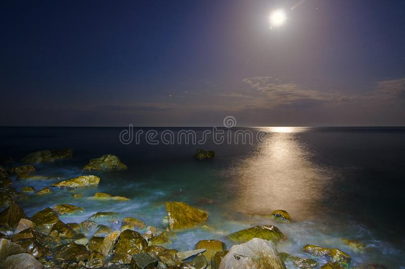 Moonlight and surf on the Black Sea. A small crab sits on a stone. Crimea, Russia, July 2018 stock image