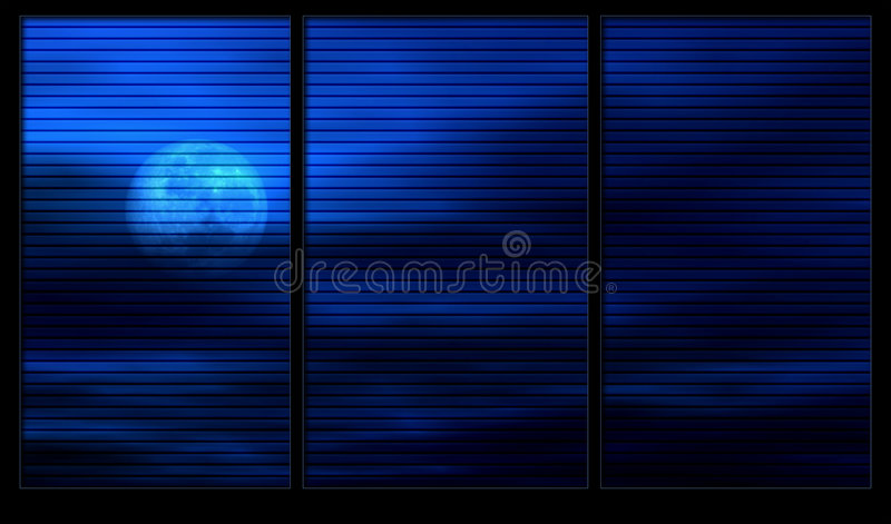 Moonlight through the window royalty free illustration