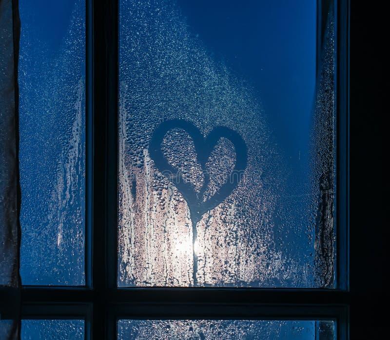 Moonlight through the window. Sweaty glass and heart vector illustration
