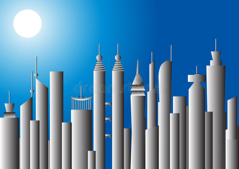 Download Moonlit Cityscape,  Illustration Stock Vector - Image: 16843750