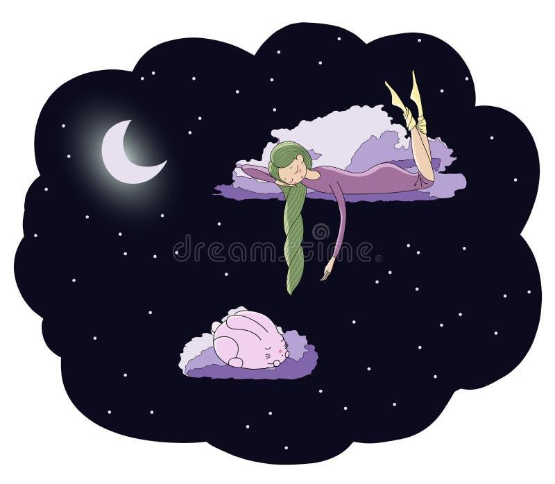 Moonlit dziewczyna z królikiem ilustracja wektor