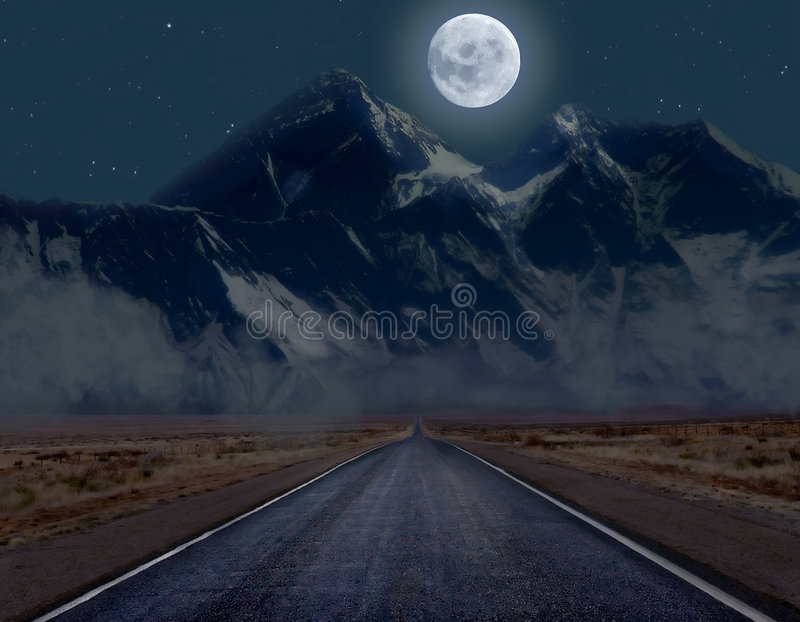 Download Moonlit mountain road stock illustration. Illustration of passage - 5910266
