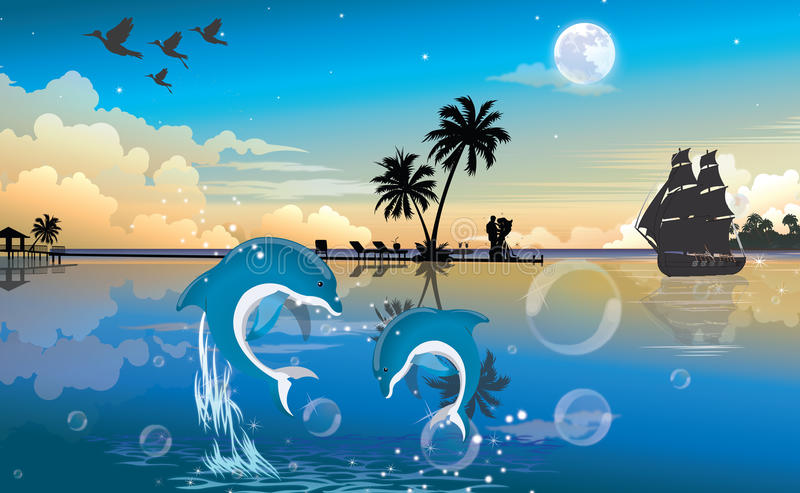 Moonlit Nacht am Strand, Abbildung vektor abbildung