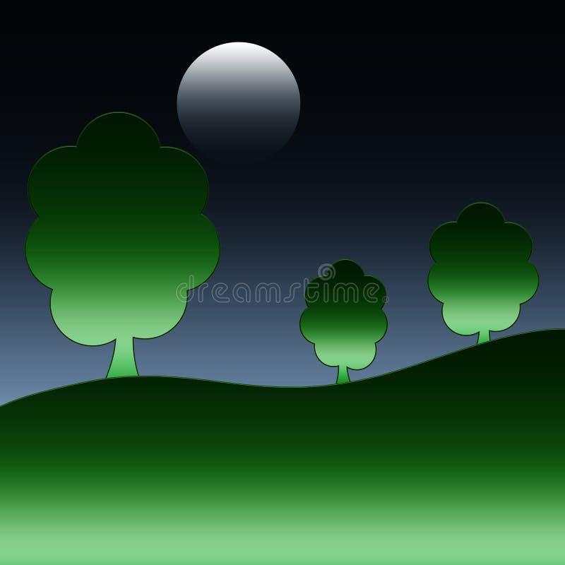 Moonlit natura i noc ilustracji