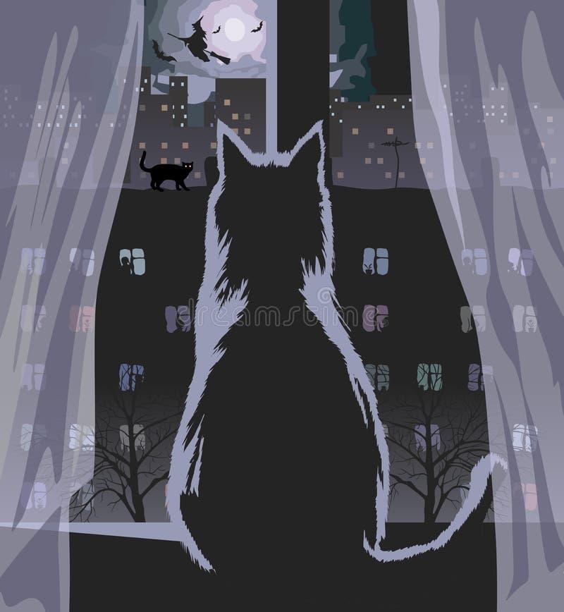 Moonlit night in the window. The cat looks at the moonlit night in Halloween. Vector format
