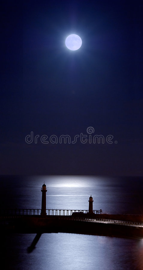 Free Moonlit Whitby Piers Stock Image - 4975541