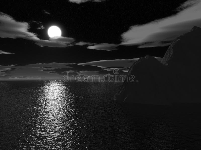 Moonnight de Víspera de Todos los Santos en el mar stock de ilustración