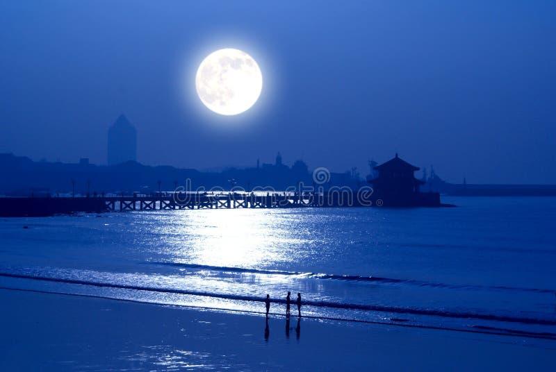 moonrise över sjösida fotografering för bildbyråer