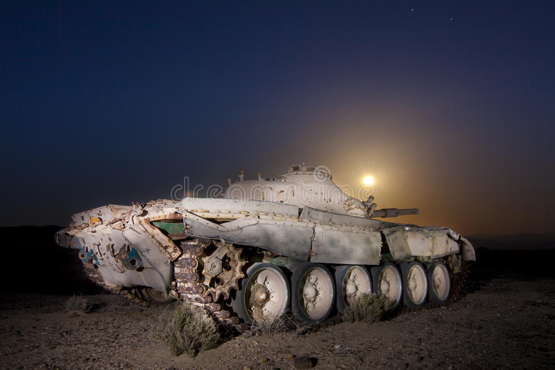 Download Moonrise Abandoned Tank stock photo. Image of moon, desert - 24658656