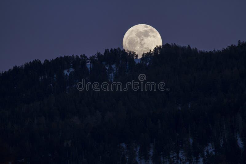 Moonrise auf den Bergen lizenzfreie stockfotografie