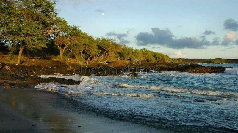 moonrise del Maui della spiaggia fotografia stock libera da diritti