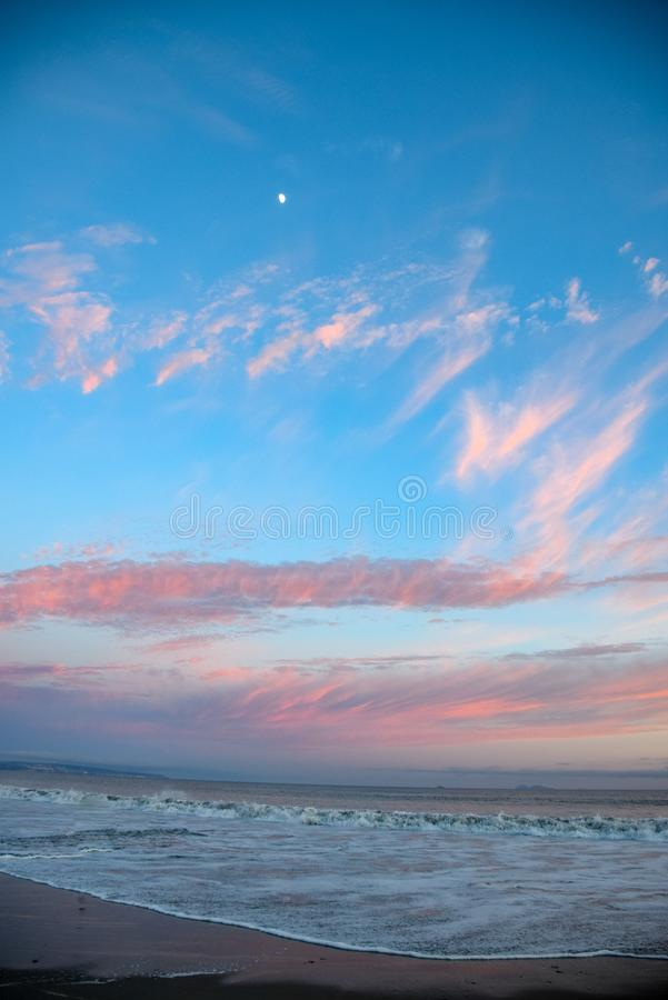 Moonrise i zmierzch w Coronado zdjęcie stock