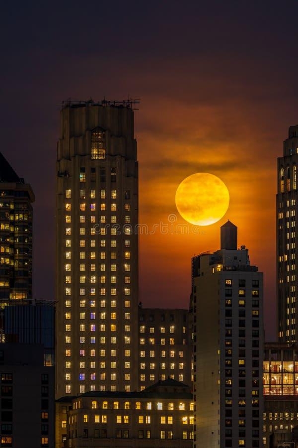 Moonrise nad Manhattan linia horyzontu przy nocą obraz stock