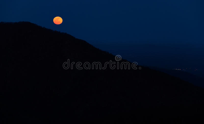 Moonrise over the Appalachian Mountains from Bearfence Mountain, Shenandoah National Park, Virginia. stock images